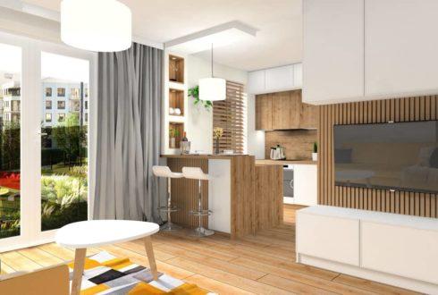 Ciekawe rozwiązanie w małych mieszkaniach - Salon z aneksem kuchennym