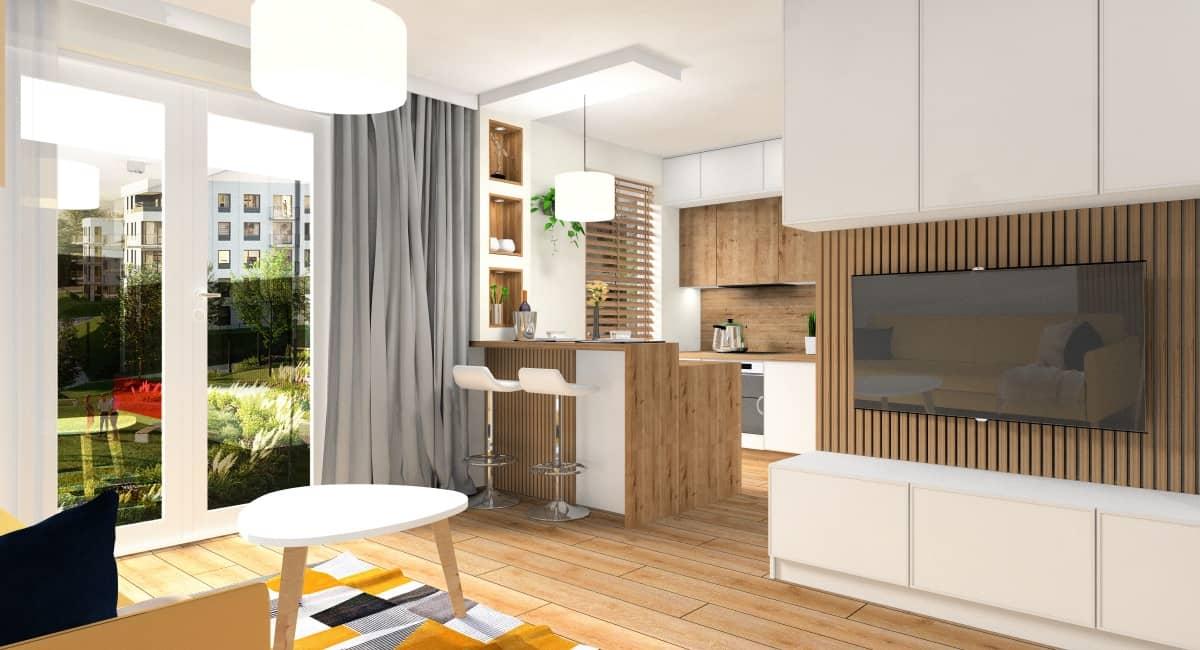 Ciekawe rozwiązanie w małych mieszkaniach – Salon z aneksem kuchennym