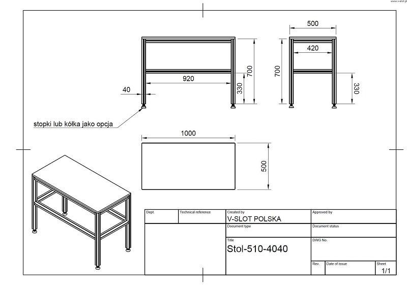 Stół roboczy z profili aluminiowych
